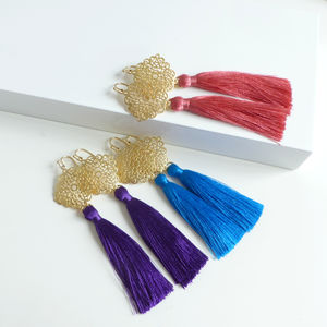 Ornate Gold Filigree Silk Tassel Earrings - earrings