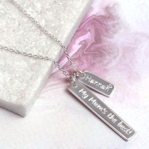 Personalised Sterling Silver Bar Charm Necklace - gifts for her