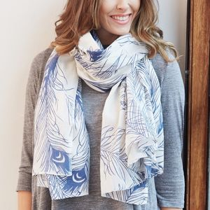 Peacock Feather Cotton Scarf - gifts for her