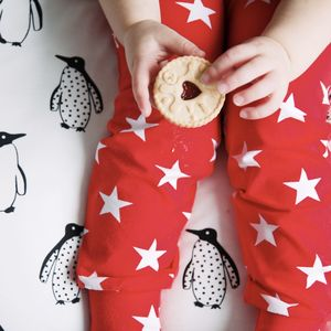 Unisex Red Star Child And Baby Leggings