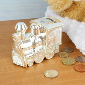Personalised Engraved Silver Train Money Box - money boxes