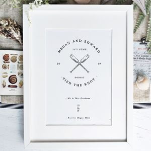 Nautical Coastal Wedding Or Anniversary Print - personalised wedding gifts