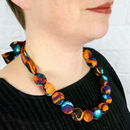 Chunky, Fabric Covered, Bead Necklace 'Afrika Big Cat'