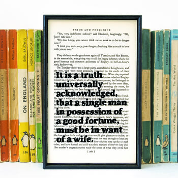 Pride And Prejudice 'It Is A Truth…' Gift Book Print