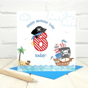 Personalised 6th Birthday Pirate Card
