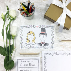 'Draw The Happy Couple' Wedding Postcards - table decorations