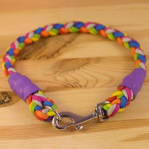 Personalised Rainbow Mega Rope Style Paracord Collar - dog collars