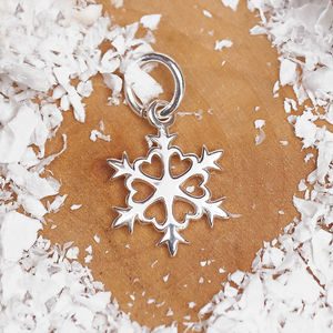 Solid Silver Snowflake Charm - charm jewellery