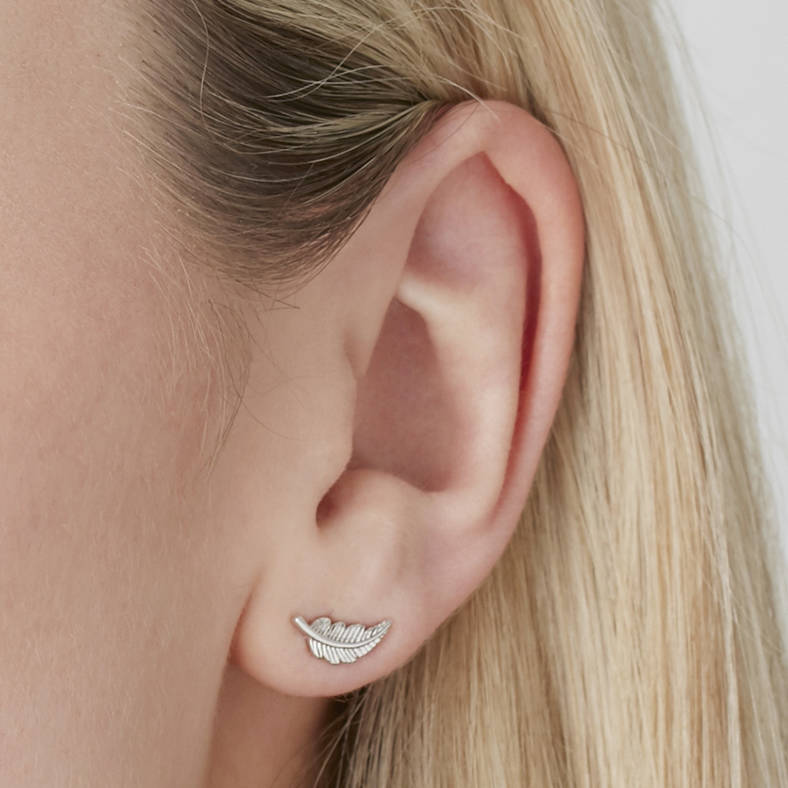 Feather Stud Earrings For Positivity Silver Gold Rose