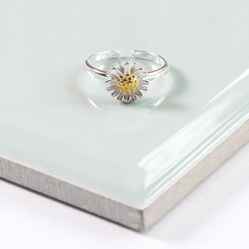 Sterling Silver Adjustable Daisy Ring