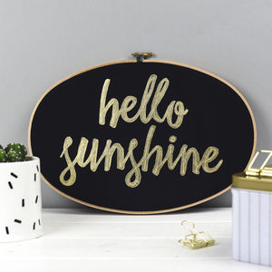 'Hello Sunshine' Embroidery Hoop Artwork