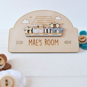 Personalised Noah's Ark Name Door Plaque - door plaques & signs