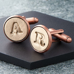 Personalised Bronze And Copper Letter Cufflinks - 3rd anniversary: leather