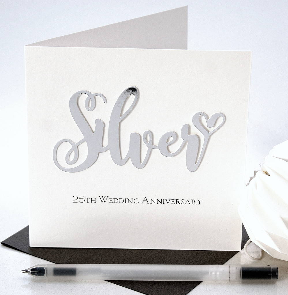 Silver 25th Wedding Anniversary Card