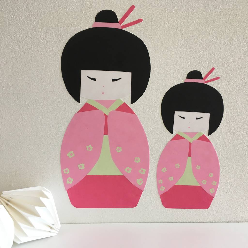 Japanese Kokeshi Doll Wall Stickers
