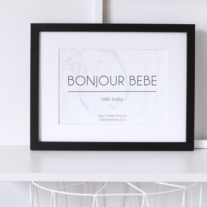Personalised 'Bonjour Bebe' Hello Baby Marble Print - new baby gifts