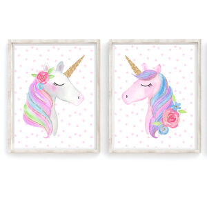 Unicorn Girls Nursery Bedroom Art Print Set
