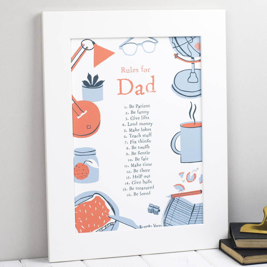 Rules For Daddy Or Dad Personalised Poem Print