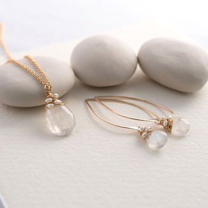Rainbow Moonstone Necklace And Earrings Set - june birthstone