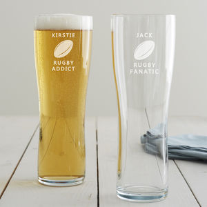 Personalised Rugby Pint Glass - sports fan