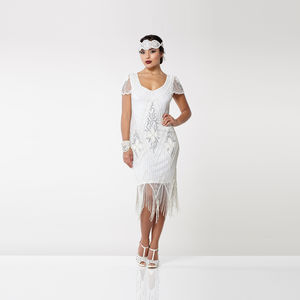 Art Deco Cap Sleeve Fringe Dress