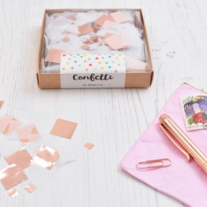 Rose Gold And White Party Confetti Box