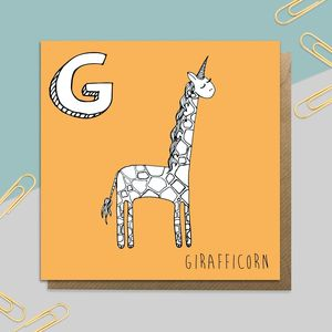 Giraffe Unicorn Card
