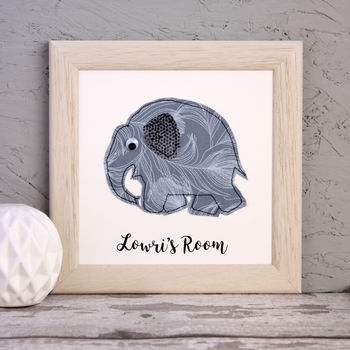 Personalised Baby Elephant Embroidered Framed Artwork