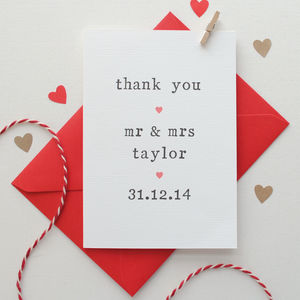 Personalised Wedding Thank You Card - wedding, engagement & anniversary cards