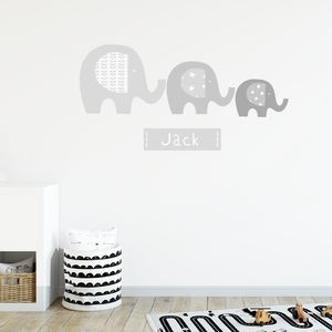 Elephant Name Fabric Wall Stickers