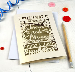Personalised Papercut 'Forever And Always' Wedding Card - wedding cards