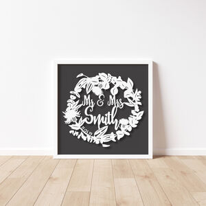 Wedding Gift Paper Cut Personalised Unframed Wreath