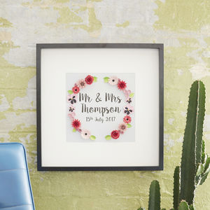 Personalised 'Mr And Mrs' Date Paper Art Framed Picture - 1st anniversary: paper