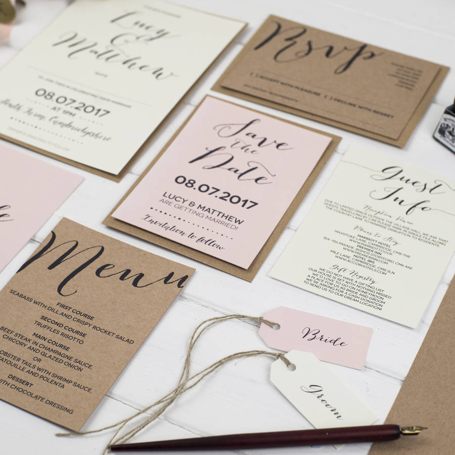 Modern calligraphy wedding invitation by russet and gray