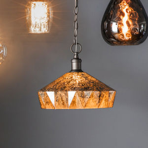Brown Glass Deco Pendant Light