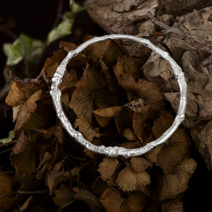 Solid Silver Oak Twig Bangle, Cast From A Real Oak Twig