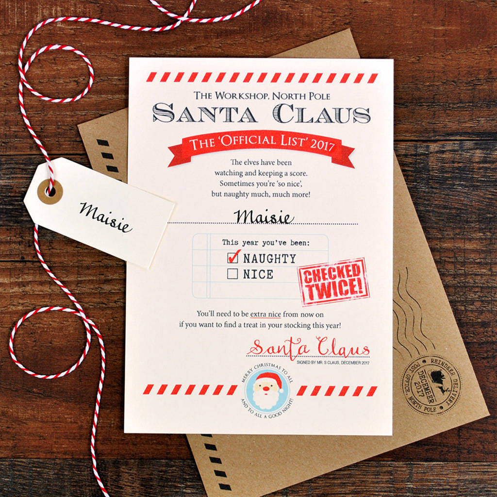 personalised naughty list letter from santa by eskimo kiss designs