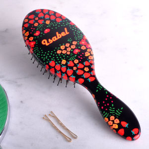 Personalised Hair Brush With Strawberry Pattern - hair accessories
