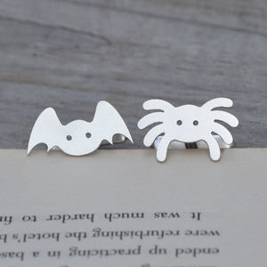 Spider Cuff Links And Bat Cuff Links In Sterling Silver - cufflinks