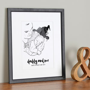 Daddy And Me Illustration - gifts for fathers