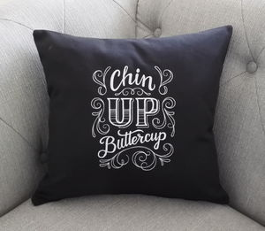 Chin Up Buttercup Fun Embroidered Cushion - cushions