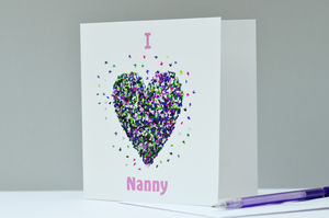 I Love Nanny Butterfly Heart Card