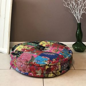 Rani Vintage Kantha Cotton Filled Floor Cushions Round - cushions