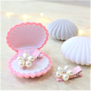 Mini Pink Pearl Hairclip In Shell Box Gift Set