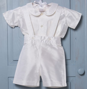 Silk James Baptism Shirt And Romper Pants