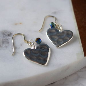 Hammered Heart Drop Earring With Teal Green Bead