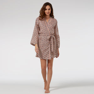 Short Cotton Robe In Trailing Flower Print