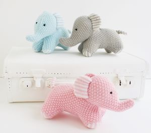Knitted Elephant Toy Comforter - soft toys & dolls