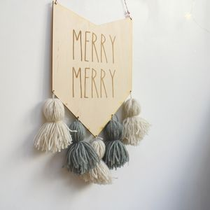 Merry Merry Christmas Pom Pom Sign