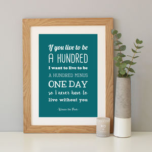 Winnie The Pooh Anniversary Gift Quote Print